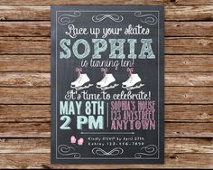 Chalkboard Ice Skating Birthday Party Invitation on Etsy, $12.50