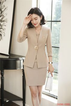 801bfb76aeb Formal Spring Summer Fashion Blazers Suits With Two Piece Jackets And Dress  Office Ladies Business Work Wear Uniforms Sets