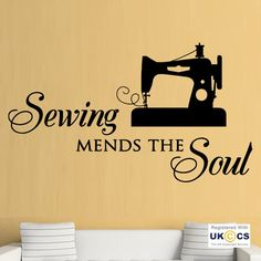 Sewing Mends Soul Seamstress Dress Quote Wall Art Stickers Decals Vinyl Room