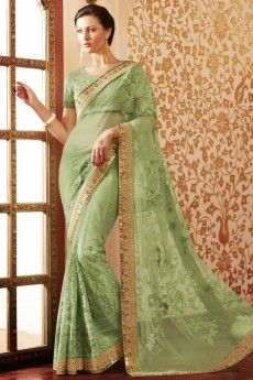 Green Net Saree With Art silk Blouse - DMV8981