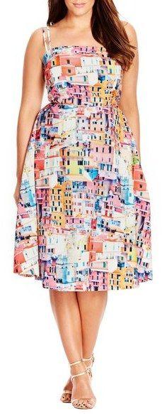 City Chic 'Holiday Romance' Print Fit & Flare Dress (Plus Size)