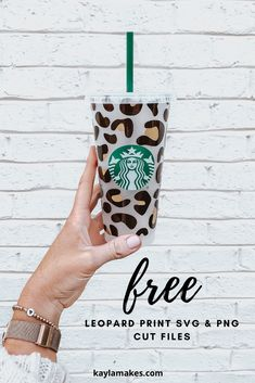 Free Leopard Print SVG or PNG for Cricut and Silhouette Vinyl Cutting Starbucks Logo, Starbucks Tumbler, Personalized Starbucks Cup, Custom Starbucks Cup, Silhouette Cameo, Silhouette Projects, Cricut Fonts, Cricut Vinyl, Planners