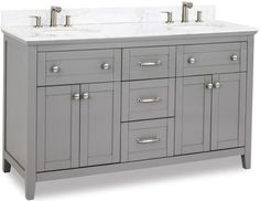 Jeffrey Alexander - Hardware Resources double Grey vanity w/ Satin Nickel hardware, Shaker style, and preassembled Carrara Marble top and 2 oval bowls Gray Vanity, Wood Vanity, Double Sink Vanity, Vanity Sink, Double Sinks, Cabinet Boxes, Traditional Cabinets, Jeffrey Alexander, Tiny House Bathroom