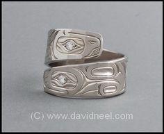 Frog Ring, 14K white gold & diamonds.   #northwestNativeIndianArtJewelry www.davidneel.com