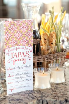 Tapas Party free printable invitation and tent cards