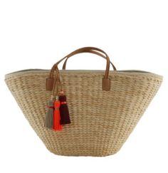 """Riviera Basket"" ($245) & ""The Junkanoo Tassel"" ($32) by India Hicks.  High quality, earthy, and fun!  www.indiahicks.com/rep/devonbuton"