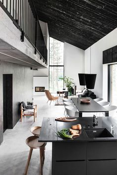 Monochrome kitchen and living + loft