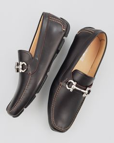Salvatore Ferragamo / Parigi Driver, Brown / Brown leather. Tan topstitching. Silvertone hardware. Double-Gancini bit on vamp.