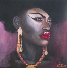 African Woman II.  - 40x40cm, akryl na płótnie.
