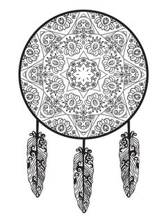 coloring page Dreamcatchers on Kids-n-Fun. At Kids-n-Fun you will always find the nicest coloring pages first! Pattern Coloring Pages, Printable Adult Coloring Pages, Cool Coloring Pages, Colouring Pics, Mandala Coloring Pages, Coloring Books, Mandalas Painting, Mandalas Drawing, Colorful Drawings