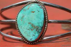 Old Navajo Sterling Silver & Natural Sky Blue Turquoise Bracelet.
