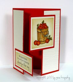 "Gatefold Card with a Twist - stampTV...beautiful card from Gina K...She makes this one in a video found on her blog...luv the crisp lines, attention to detail, and double ""locking"" panels to close the card..."