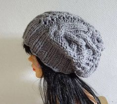 Handmade Knit Cable Hat Beanie Slouchy Hat  Large Men GRAY