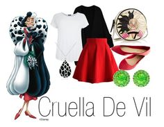 """Cruella De Vil~ DisneyBound"" by basic-disney ❤ liked on Polyvore featuring Olympia Le-Tan, Wet Seal, Chicwish, Gioelli Designs, Color My Life, women's clothing, women, female, woman and misses"