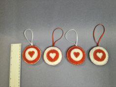 4 x Christmas Tree felt ornaments, handmade- NEW