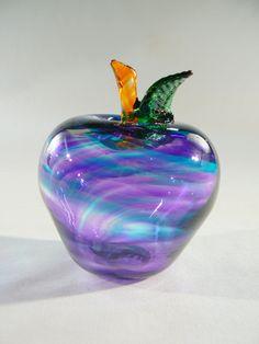 Fruit Blown Glass Apple in Blue Purple by Glassometry on Etsy, $50.00