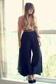 Can't get enuf of wide legs /// Orange Lace Back Shirt, Maxi Pants, Jeffrey Campbell Madame Spike Heels