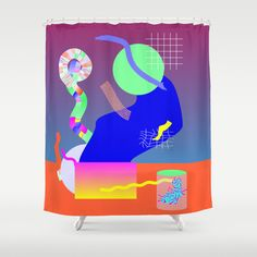 Science Party Shower Curtain by specialeditionco Memphis Milano, Science Party, Wash N Dry, Buttonholes, Curtain Rods, Household, Shower Curtains, Hooks, Prints