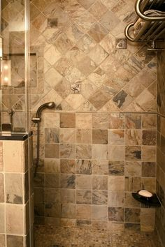 Decorative Pencil Tile Enchanting Faux Slate Tile Shower  3040 Faux Slate Tile Bathroom Design Review