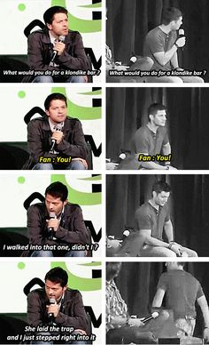"[SET OF GIFS] ""What would you do for a Klondike bar?"" Misha convention panel vs. Jensen and Jared convention panel"