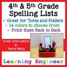 4th Grade Spelling Lists - 5th Grade Spelling Lists (Writi