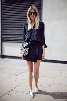 Outfit Inspiration: asymmetrical black skirt + tucked in black blouse | Camille Over the Rainbow