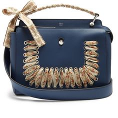 Fendi Dotcom ribbon-whipstitch leather bag featuring polyvore women's fashion bags handbags blue multi structured leather handbags fendi handbags top handle handbags blue leather handbags blue purse