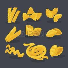 farfalles: Vector set aliments de blé. cuisine italienne et les pâtes macaroni, fusilli, spaghetti et penne, farfalle et tagliatelles. Cartoon illustration isolé sur fond blanc.