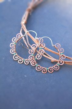 Green Hoop earrings in copper and green crystals, SusyDeMarchiJewelry