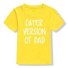 Summer Kids Tshirt Cuter Version of Dad Letters Printed Toddler Boy Gi – shopeershub Kids Shorts, Summer Kids, Girl Humor, Unisex Fashion, Toddler Boys, Funny Tshirts, Colorful Shirts, Top Deals, Letters