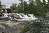 Nestor Falls on Lake of the Woods.  There's a picnic table and often there are pelicans fishing at the base of the falls.