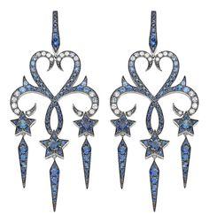 "Stephen Webster's ""Belle Epoque"" earrings feature blue sapphires"