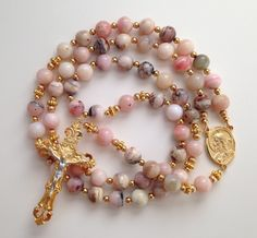 Pink Opal Rosary, Sacred Heart of Jesus, Our Lady of Mt Carmel, Catholic Rosaries, Gold Crucifix, Scapular, Religious Gift, Prayer Beads by GloriaRosaries on Etsy https://www.etsy.com/listing/206754774/pink-opal-rosary-sacred-heart-of-jesus