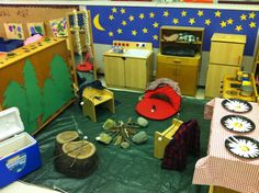 Camping - Dramatic play -The at our school left for camp so we made our own dramatic play campsite in Kindergarten this week! Great dramatic play theme for the end of the year! Camping Dramatic Play, Dramatic Play Themes, Dramatic Play Area, Dramatic Play Centers, Kindergarten Themes, Classroom Themes, Preschool Activities, Prek Literacy, School Classroom