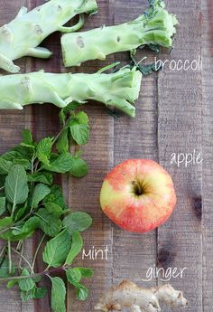 Sweet Broccoli Juice 2 - 3 broccoli stalks handful fresh mint 1-inch piece ginger 1 - 2 apples, depending on desired sweetness Juice ingredients and enjoy!