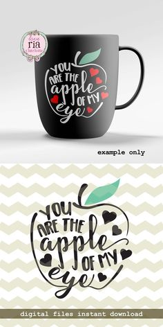 Apple of my eye, sweet love quote Valentine's day gift digital cut files, SVG, DXF, studio3 files for cricut, silhouette cameo, diy decal