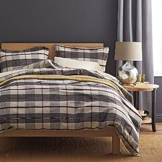 Plaid flannel duvet cover in a timeless pattern, crafted of thick 5 oz. flannel that's been brushed for a super-soft hand.