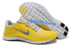 511457-700 Nike Free 3.0 V4 Chrome Jaune Reflect Argent Platinum Hommes  Nike Free Run b5125bdc63f0
