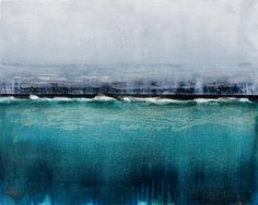 "Saatchi Online Artist Claudia De Grandi; Painting, ""White grey and blue on black"" #art"