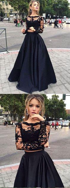 A-line Bateau Floor-Length Satin Black Two Piece Prom Dresses HX0061 #promdress #black #twopiece #vintage