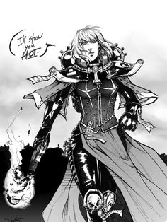 Warhammer 40k Sister of battle; yeah, the only thing that should be hot about the Sororitas is their flamers, really.
