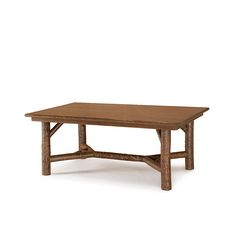 Rustic Dining Table with Optional Medium Oak Top #3080 shown in Natural Finish (on Bark) by La Lune Collection