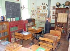 one room school -Look at all those old books!!