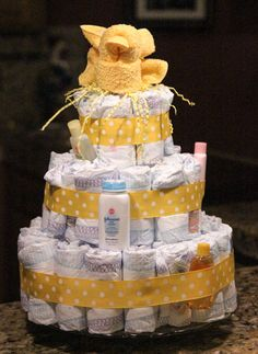 Baby Shower Diaper Cake Tutorial #EviteBabyTrends #paid
