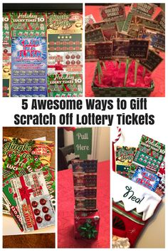 NJ Lotterys Holiday Instant Games make the perfect gift for those 18 on your list. Here are 5 fun and festive ways to gift scratch off lottery tickets this year! Lottery Ticket Christmas Gift, Lottery Ticket Tree, Scratch Off Tickets, Scratch Off Cards, Christmas Gift Baskets, Diy Christmas Gifts, Christmas Ideas, Christmas Gift Exchange, Homemade Christmas