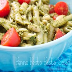 Penne Pesto Pasta Salad....really good with a twist of putting the cannellini beans in it.
