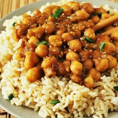General Tso's Chick Peas (Vegan, Gluten-Free) Recipe Main Dishes with garbanzo, liquid aminos, lemon juice, tapioca starch, coconut oil, garlic, ginger, spring onions, water, coconut sugar, liquid aminos, sesame oil
