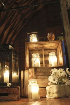 Mason jar candle holders in old crates