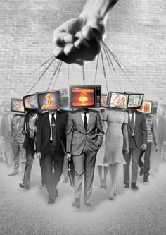 """""""The people will believe what the media tells them they believe."""" ~~George Orwell, author of 1984 and Animal Farm. READ and think for yourself. Collage Kunst, Collage Art, Collages, Urbane Kunst, Protest Art, Photocollage, Illuminati, Banksy, Urban Art"""