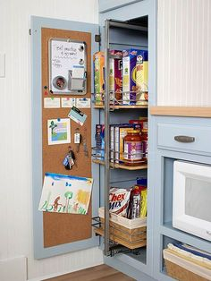 Slide out kitchen pantry drawers and cork board - kitchen organization Great for calendar Kitchen Pantry Design, Kitchen Organization Pantry, Home Organization Hacks, Kitchen Layout, Kitchen Storage, Organized Pantry, Pantry Ideas, Kitchen Pantries, Household Organization